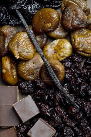 Dried fruit with chocolate