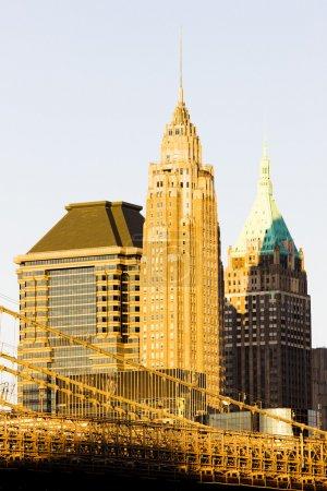 Photo pour Manhattan avec brooklyn bridge, new york city, usa - image libre de droit