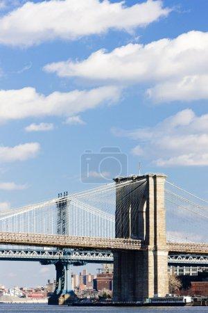 Photo pour Pont de Brooklyn et manhattan bridge, new york city, usa - image libre de droit