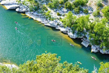 Kayaks in Ardeche Gorge, Rhone-Alpes, France
