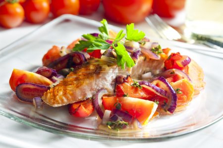 Photo for Grilled salmon with vegetables - Royalty Free Image