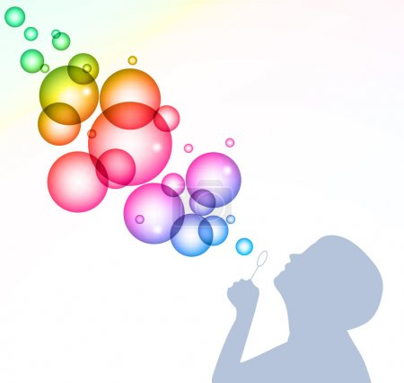 Child blowing bubbles. Vector background
