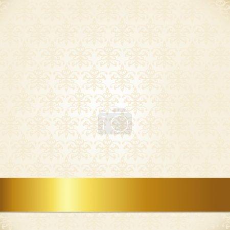 Illustration pour Fond damassé beige avec ruban d'or, Illustration vectorielle - image libre de droit