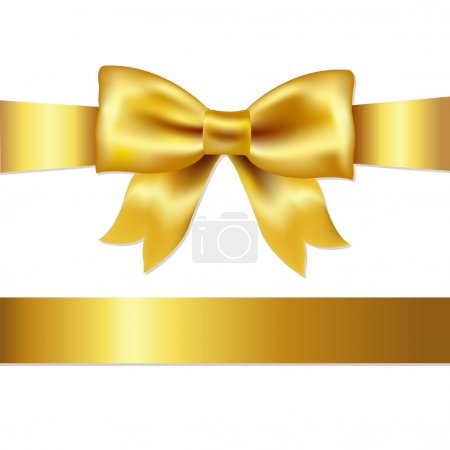 Illustration for Golden Bow, Isolated On White Background, Vector Illustration - Royalty Free Image