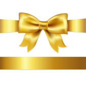 Golden Bow Isolated On White Background Vector Illustration
