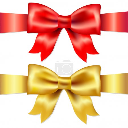 Illustration for 2 Ribbons, Red And Gold Gift Satin Bow, Isolated On White Background, Vector Illustration - Royalty Free Image