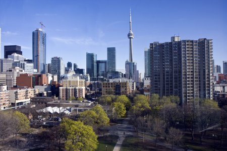 Toronto skyline and the view in city center...