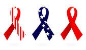 Usa flag ribbon set isolated on white