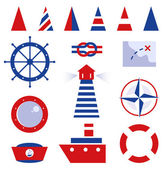 Sailor and sea icons isolated on white