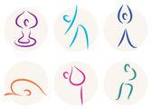 Yoga stick figure icons or symbols isolated on white