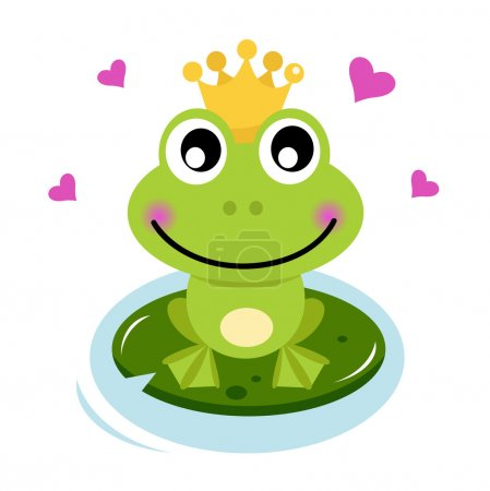 Frog prince isolated on white. Cartoon vector illu...
