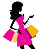 Shopping girl with pink bags silhouette Vector illustration