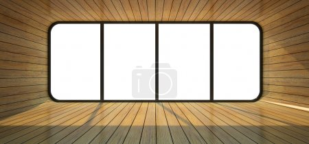Photo for Wood empty room with big window 3D rendering - Royalty Free Image