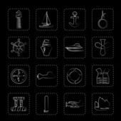 Simple Marine Sailing and Sea Icons - Vector Icon Set
