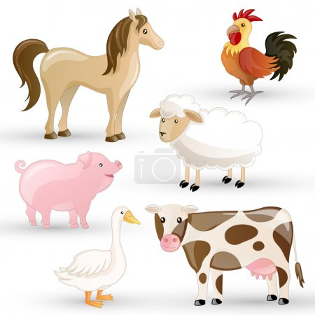 Vector Set of isolated Farm Animals