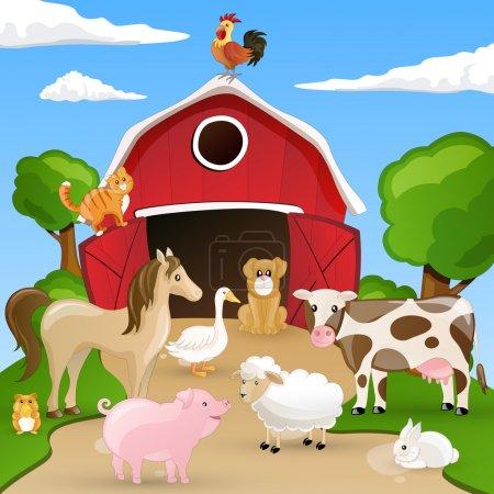 Illustration pour Illustration vectorielle d'animaux de ferme devant une étable - image libre de droit