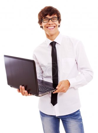 Smiling guy with laptop