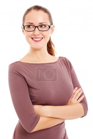 Business woman in glasses looks at side