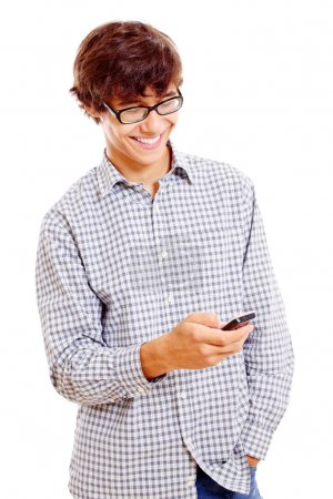 College guy with mobile phone in his hand