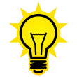 Shining light bulb vector sign isolated on white background