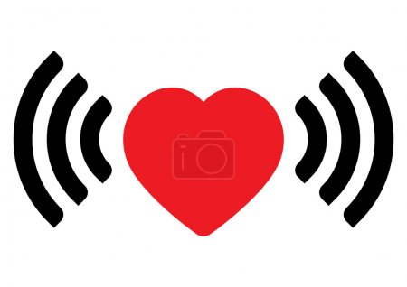 Illustration for Red heart with wifi wireless signal - Royalty Free Image
