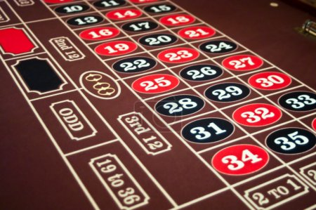 Roulette felt tabletop with black and red numbers