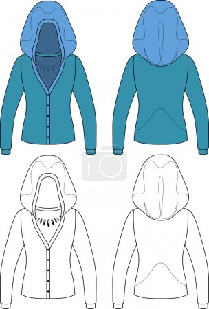 Template outline illustration of a blank hooded cardigan