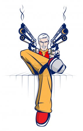 Illustration for Cartoon gangster with smoking guns. Vector illustration - Royalty Free Image