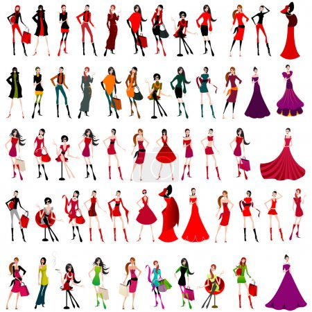 Illustration for Vector large set of elegant shopping and fashion girls - Royalty Free Image