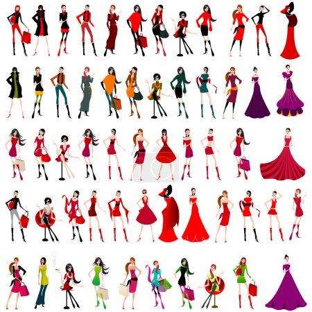 Illustration pour Grand jeu de filles de magasinage et de la mode élégantes vectorielles - image libre de droit