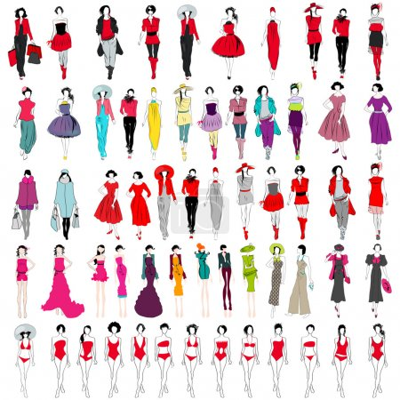 Illustration for Vector large set of hand drawn style elegant shopping and fashion girls - Royalty Free Image