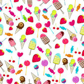 Vector seamless background illustration of cute hand drawn style summer retro candies background