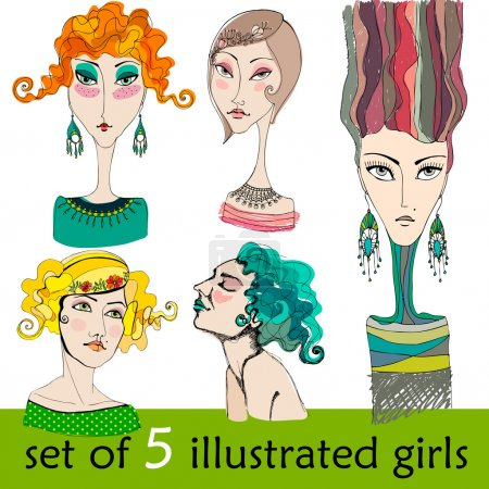 Set of illustrated cute abstract girls