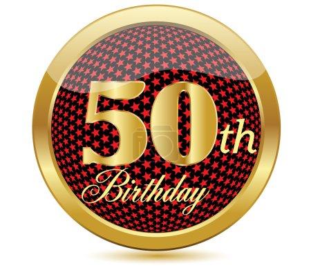 Illustration pour 50 ans, joyeux anniversaire icône dorée avec diamants, illustration vectorielle - image libre de droit