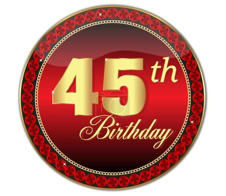 Illustration pour 50 e anniversaire, joyeux anniversaire icône d'or avec diamants, illustration vectorielle - image libre de droit