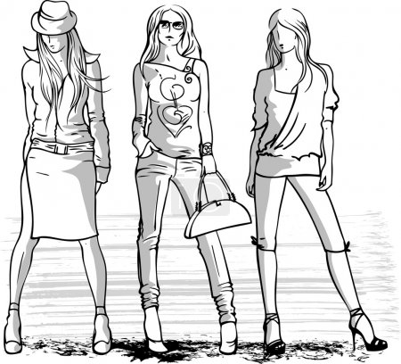 Illustration of three fashion girls