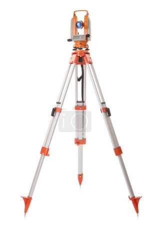 Survey equipment theodolite on a tripod