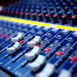 Controls of audio mixing console...