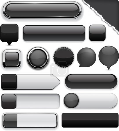 Illustration for Blank black web buttons for website or app. Vector eps10. - Royalty Free Image