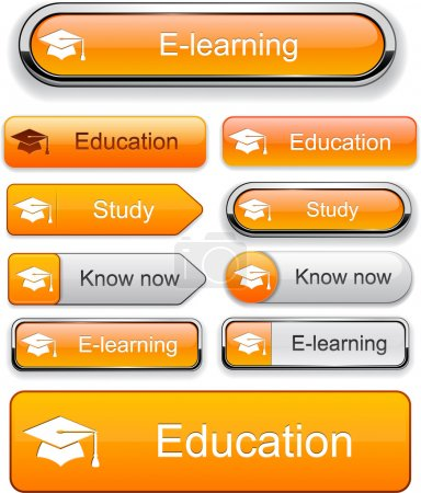Illustration for Education web orange buttons for website or app. Vector eps10. - Royalty Free Image