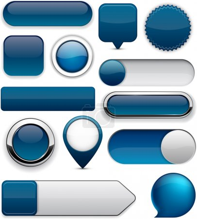 Illustration for Blank Dark-blue web buttons for website or app. Vector eps10. - Royalty Free Image