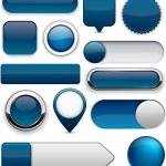 Blank Dark-blue web buttons for website or app. Ve...