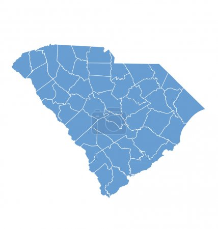 State map of South Carolina by counties