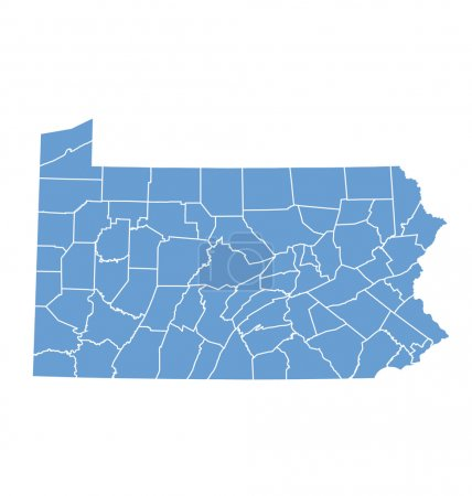 State map of Pennsylvania by counties
