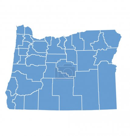 State map of Oregon by counties