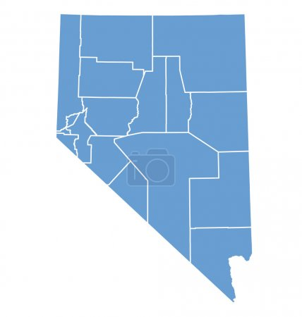 State map of Nevada by counties