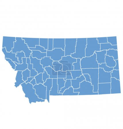 State map of Montana by counties