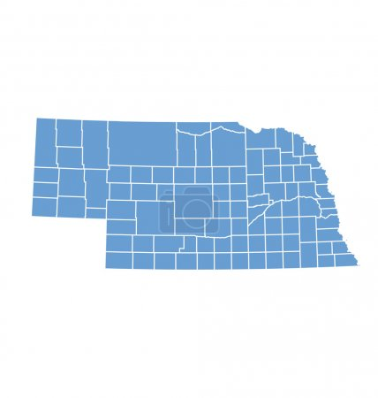 State map of Nebraska by counties