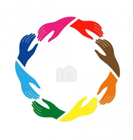 Illustration pour Groupe de travail d'équipe des mains en cercle - image libre de droit