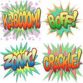 A Selection of Comic Book Exclamations and Action Words Kaboom Boff Zonk Crackle